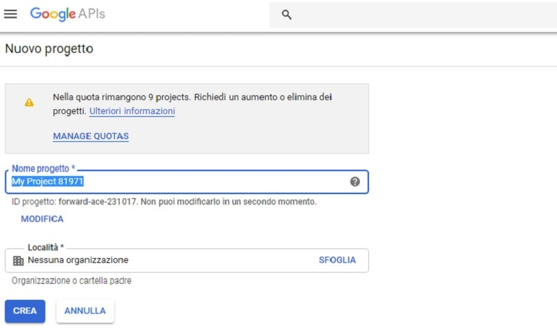 abilita API Gmail