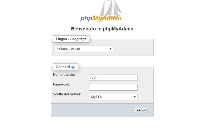 accesso phpMyAdmin
