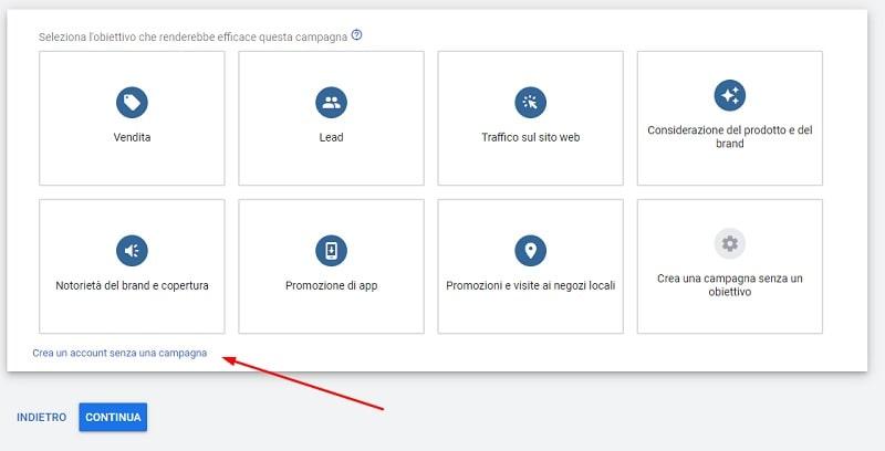 Crea account Keyword Planner senza campagna