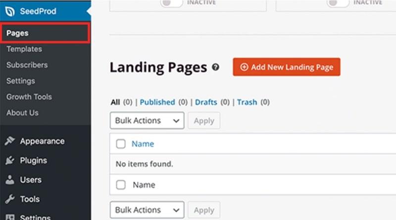 Crea landing page