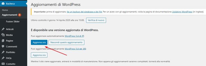 Aggiornare WordPress 5.4