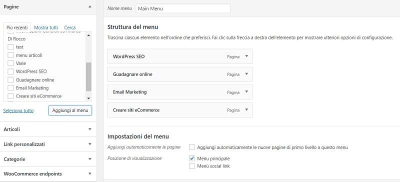 Creare sito web - il menu