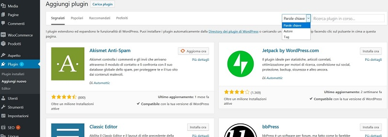 aggiungi plugin wordpress