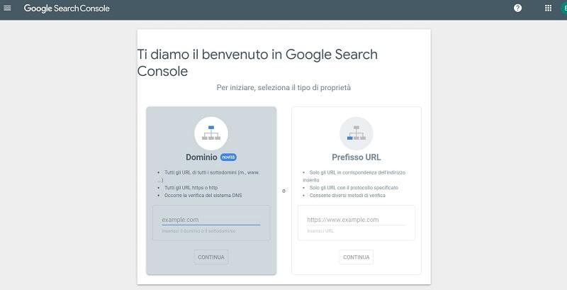 Aggiungi proprietà nuova Search Console