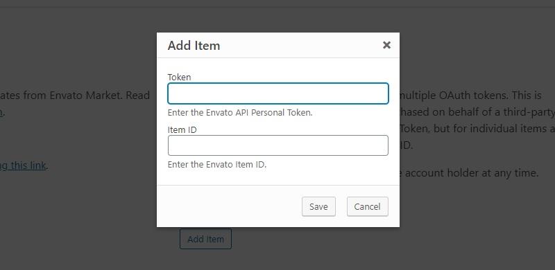 Aggiungere token e item id per aggiornare un tema Themeforest