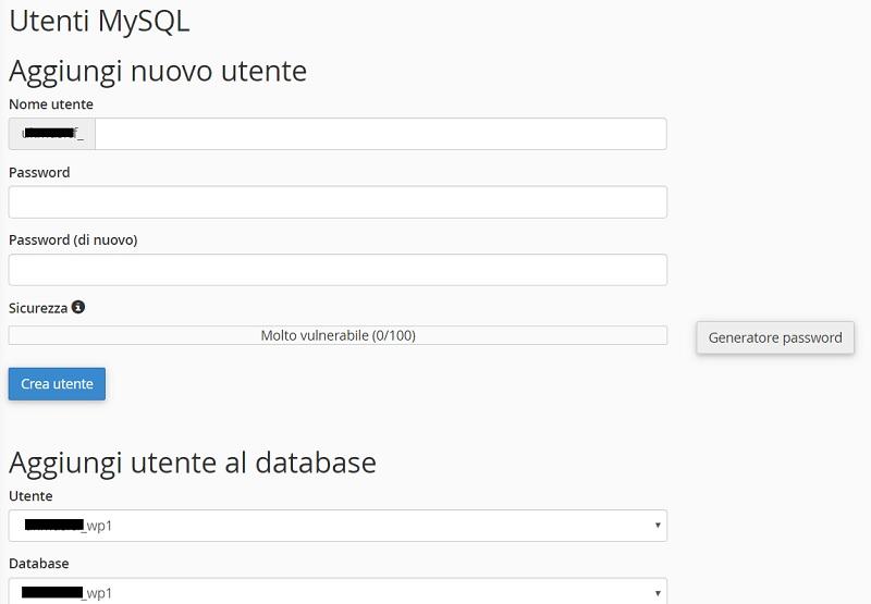 Aggiungi utente database cpanel