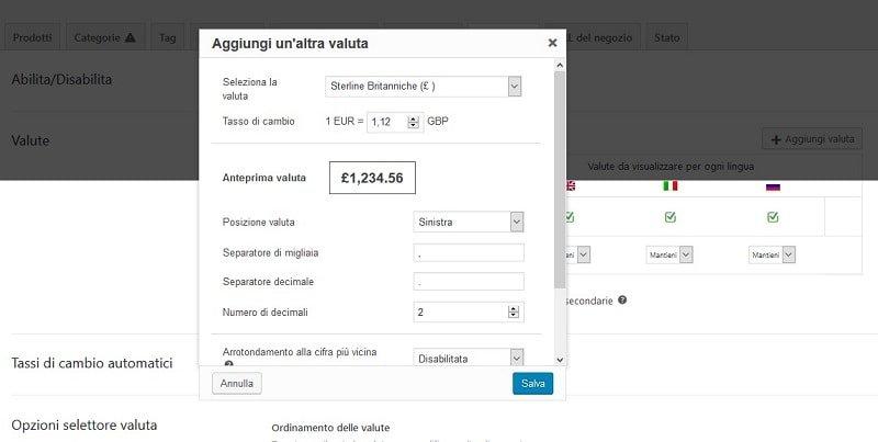 Aggiungere valute in sito multilingua