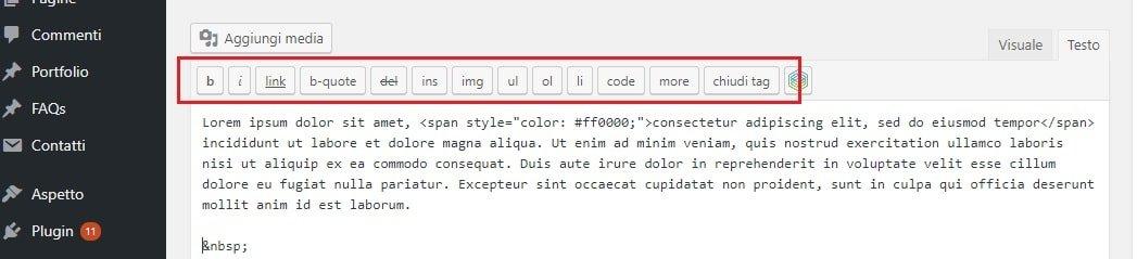 Altri tag nell'editor WordPress