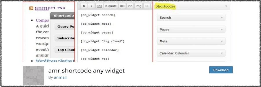 amr shortcode any widget