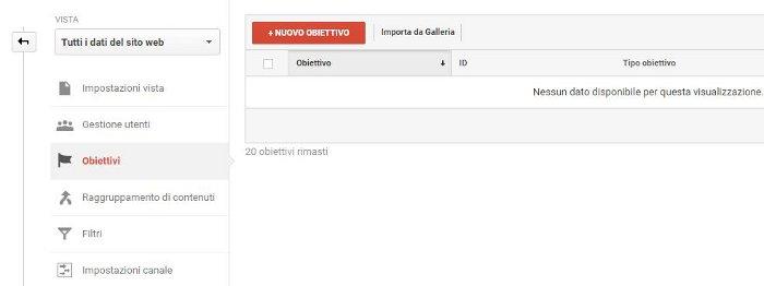 creazione obiettivo su Google Analytics