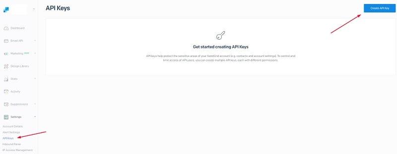 Creare API Key SendGrid