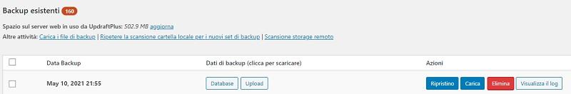 backup esistenti UpdraftPlus