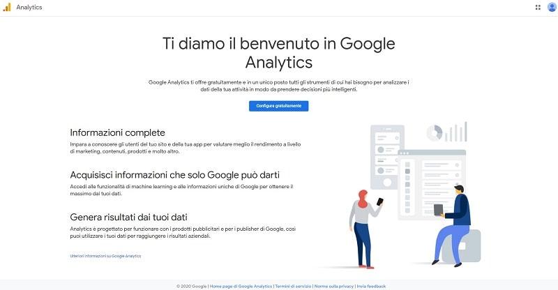 Schermata di benvenuto Google Analytics