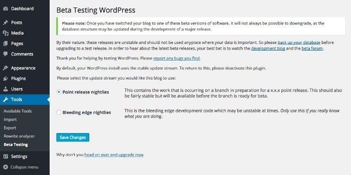 WordPress 4.9 - beta testing plugin