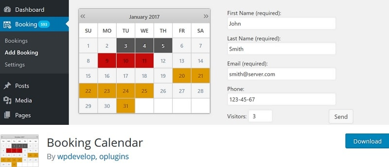 Booking calendar: Plugin per gestire prenotazioni e appuntamenti