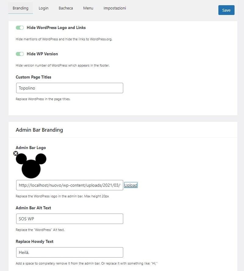 Impostazioni personalizzazione Bacheca di WordPress