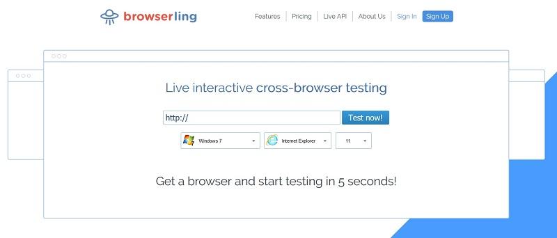 Browserling per testare la compatibilità fra browser