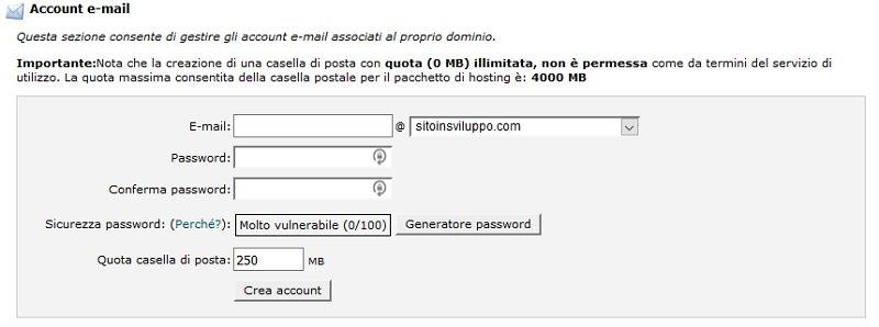 Come usare il cPanel per creare indirizzo E-mail