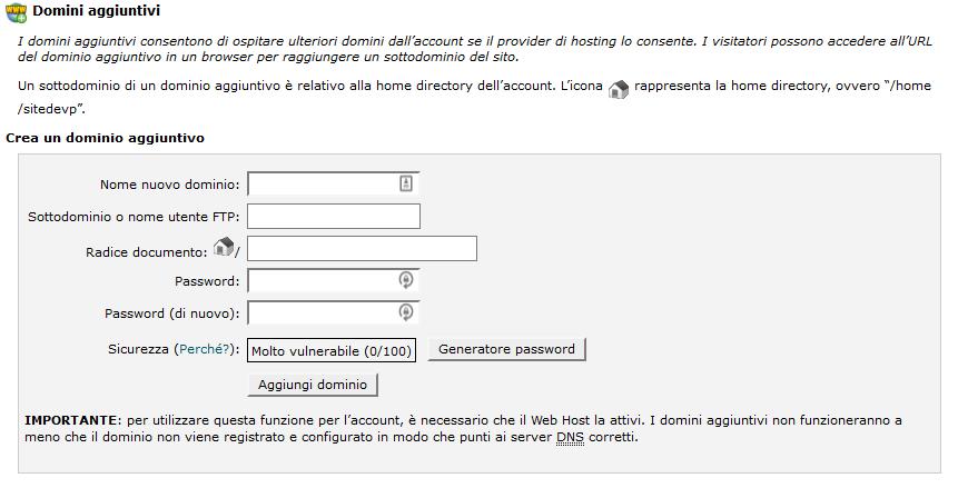 Come funziona il cPanel: aggiungere domini