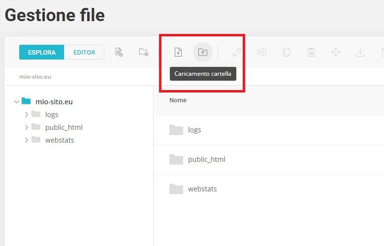 Caricare Cartella Gestore file Site Tools