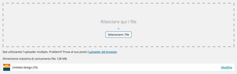 Caricare file WordPress