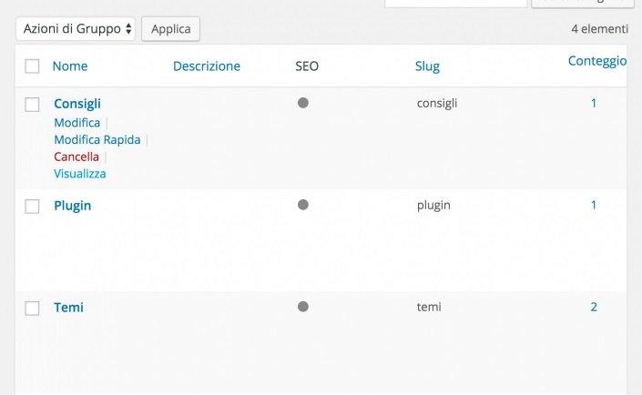 Le categorie nella bacheca di WordPress