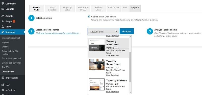 Creazione tema Child WordPress con plugin