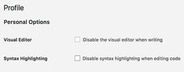 Disattivazione sintassi evidenziata su WordPress 4.9