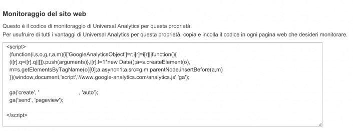 codice monitoraggio analytics