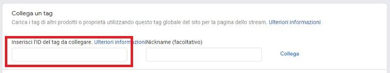Collegamento tag Google Analytics 4