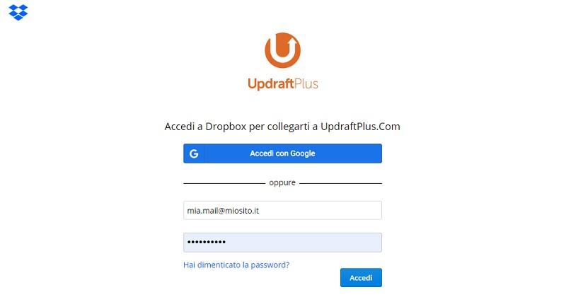Collega Updraftplus a Dropbox