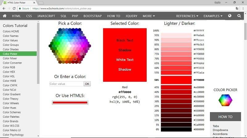 Color Picker per la scelta dei colori