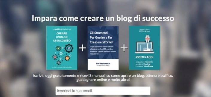 Come creare un blog di successo - landing page