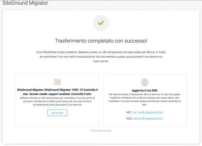 Completamento migrazione con Siteground migrator