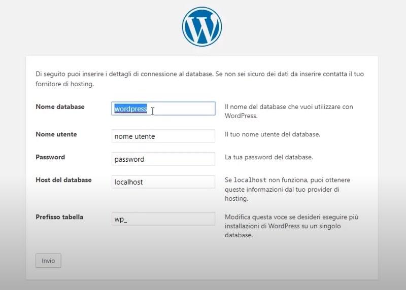 Installare WordPress manualmente