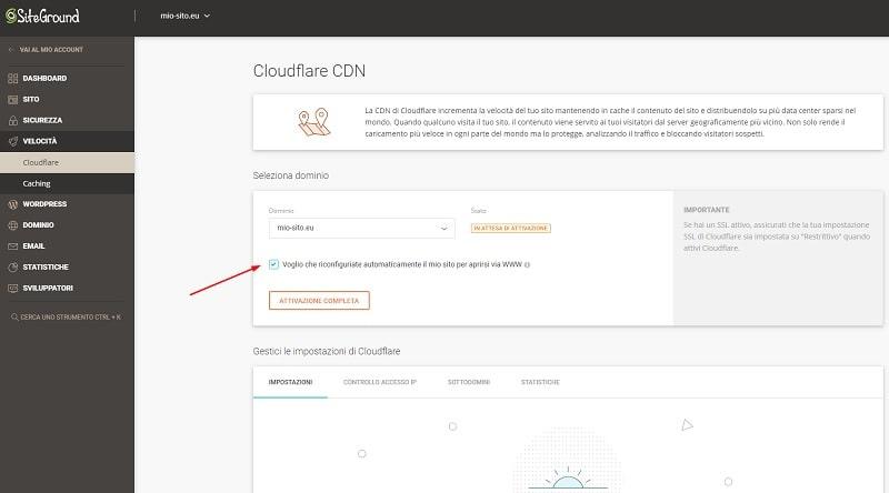 Configurazione Cloudflare www