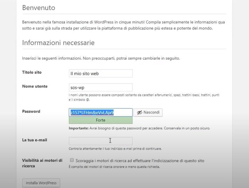 Configurazione manuale del sito WordPress