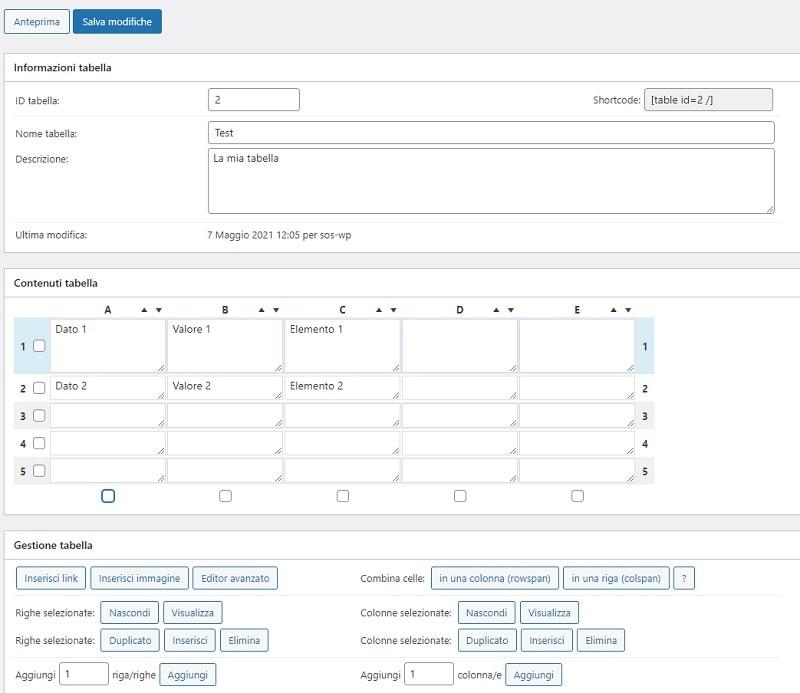 configurazione tablepress per importare file excel su wordpress
