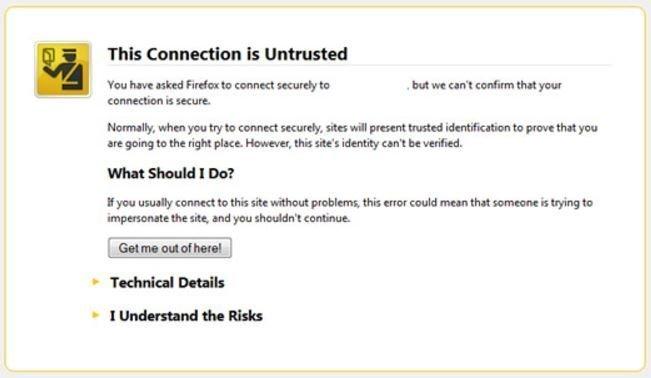 sito non sicuro - avviso browser