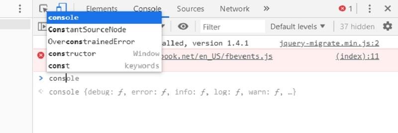 Pannello Console sviluppatori