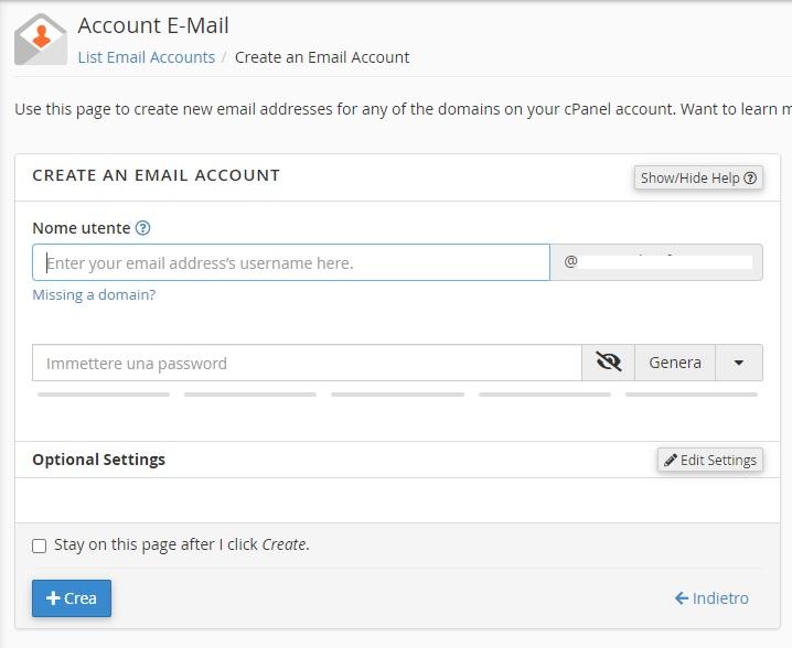Creare un account email con cPanel