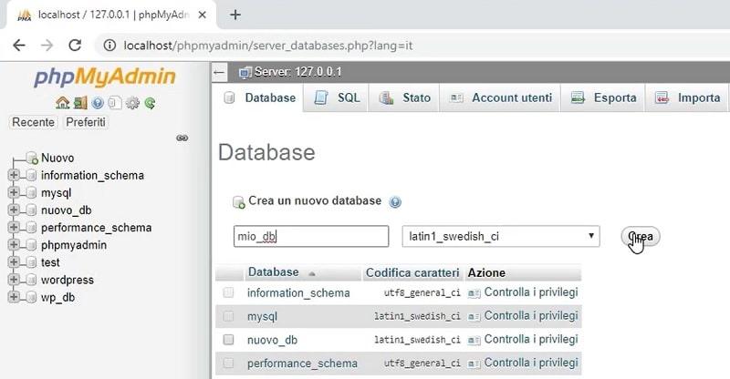 installare WordPress in locale - crea database