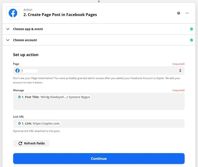 Zapier pubblica post Facebook da articolo