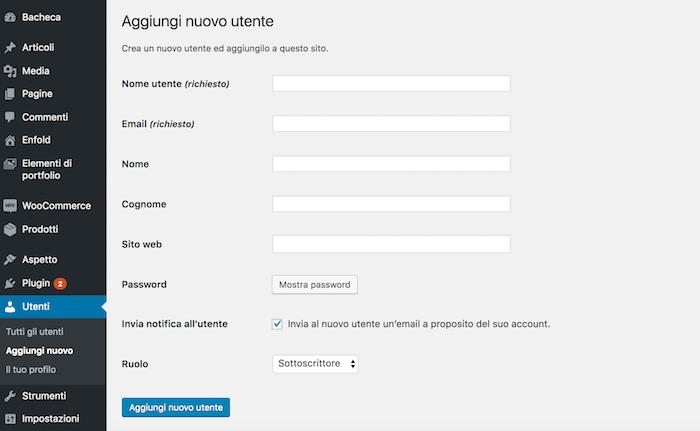 creare nuovo utente wordpress