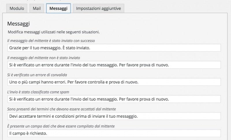 creare un form di contatto - sezione messaggi