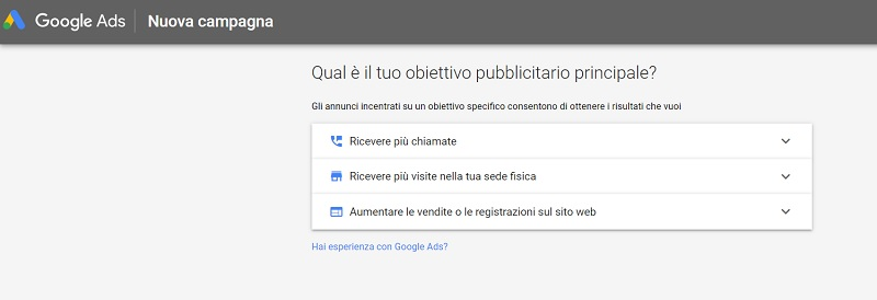 Creazione account Google Ads