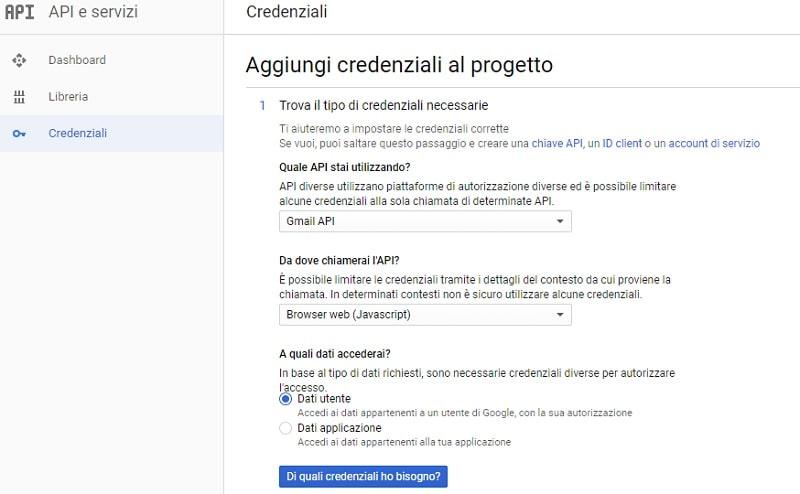 Aggiungi credenziali Gmail