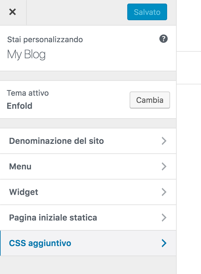 css aggiuntivo pannello personalizza wordpress