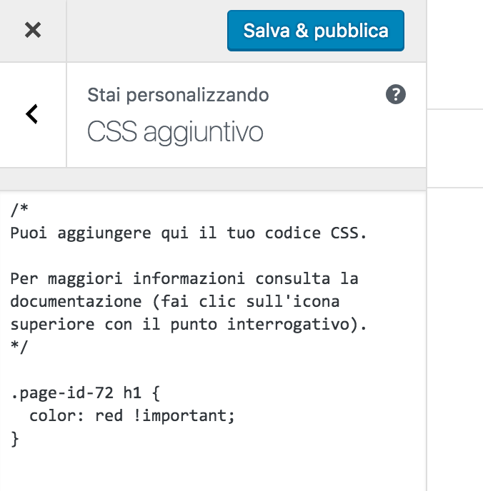 css aggiuntivo wordpress