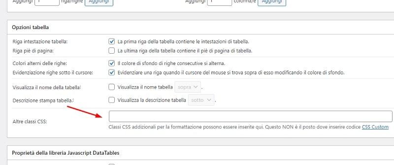 Classi CSS tabella